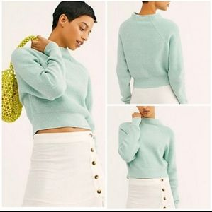 Free People Too Good Mock Neck Sweater Mint Green